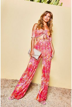 Womens Hot pink Recycled Slinky Tropical Wide Leg Trouser