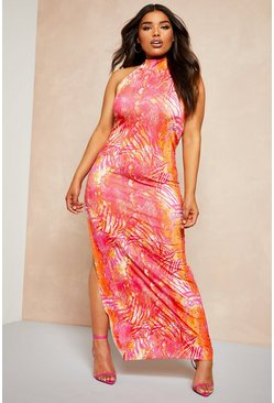 Womens Hot pink Recycled Slinky Tropical High Neck Maxi Dress