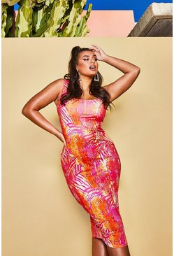 Womens Hot pink Recycled Slinky Tropical Square Neck Midi Dress