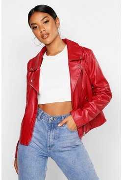 Red Faux Leather Zip Biker Jacket
