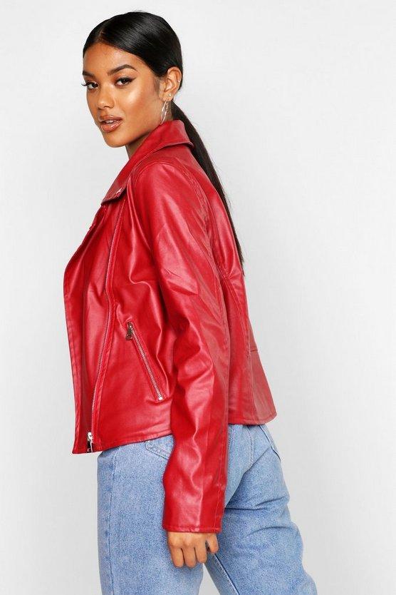 Faux Leather Zip Biker Jacket