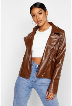 Chocolate Faux Leather Zip Biker Jacket
