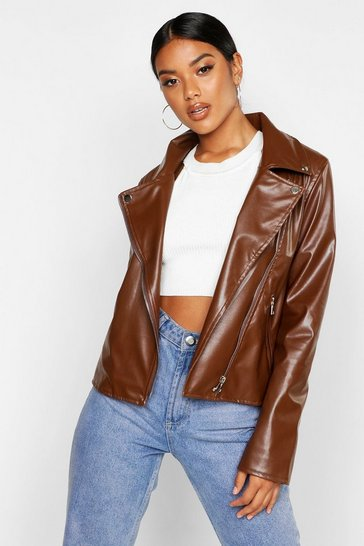 Womens Chocolate Faux Leather Zip Biker Jacket