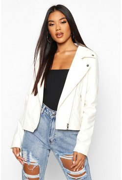 Womens White Faux Leather Zip Biker Jacket