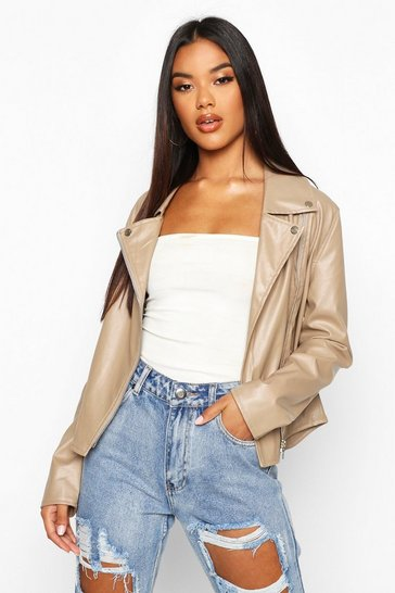 Womens Stone Faux Leather Zip Biker Jacket