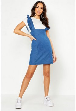 Womens Mid blue Ruffle Detail Denim Pinafore
