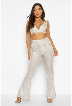 Womens Champagne Metalic Wide Leg Trouser
