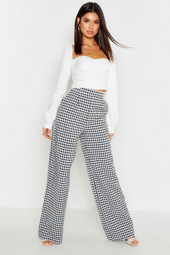 Womens Black Gingham Check Wide Leg Trouser