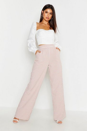 Womens Dusky pink Gingham Check Wide Leg Trouser