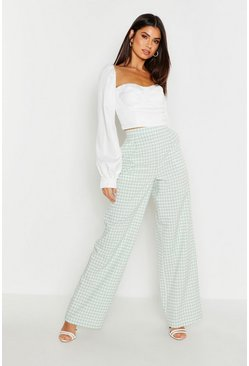 Womens Sage Gingham Check Wide Leg Trouser