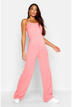 Womens Coral Halter Neck Knitted Jumpsuit