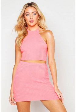 Neon-coral Halter Top & Mini Skirt Knitted Set