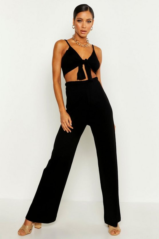 Tie Detail Wide Leg Knitted Set by Boohoo