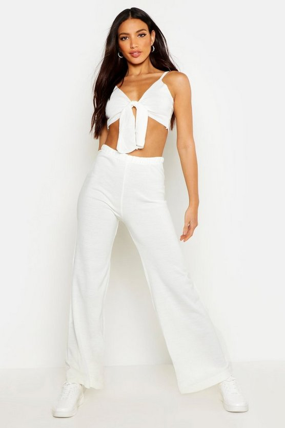 Womens Cream Tie Detail Wide Leg Knitted Set