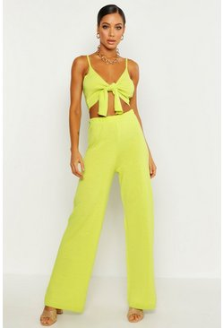 Womens Lime Tie Detail Wide Leg Knitted Set