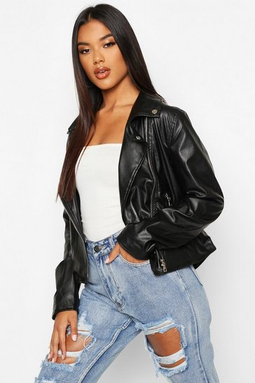 Womens Black Faux Leather Zip Biker Jacket