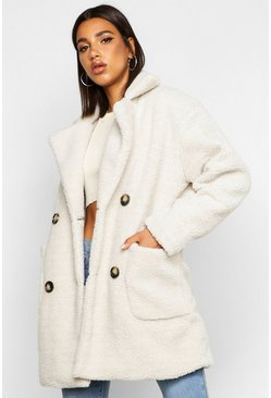 Womens Grey Teddy Faux Fur Double Breasted Coat