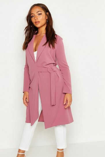 Womens Mauve Buckle Detail Belted Jacket