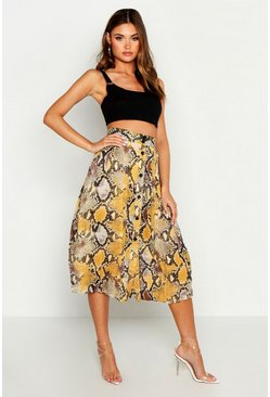 Womens Yellow Snake Pleat Button Down Midi Skirt