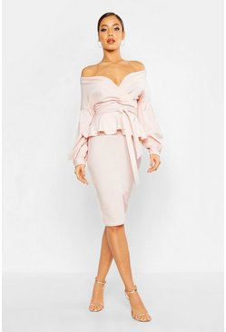 Blush Off The Shoulder Wrap Peplum Midi Dress