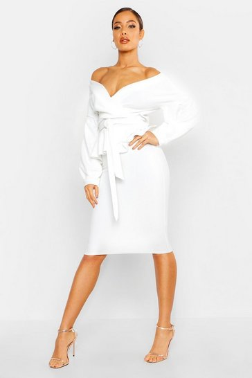 White Off The Shoulder Wrap Peplum Midi Dress
