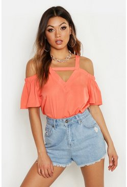 Coral Cold Shoulder Cut Out Detail Woven Top