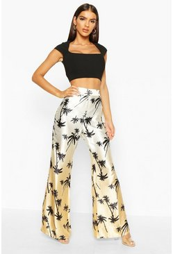 Tan High Waist Flare Palm Print Trouser