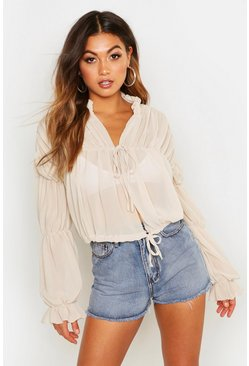 Womens Stone Ruched Tie Front Sheer Top