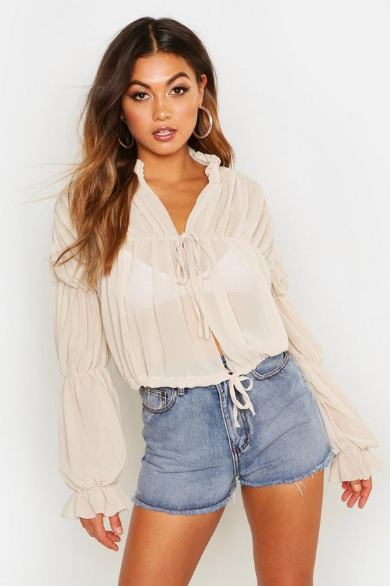 Ruched Tie Front Sheer Top by Boohoo