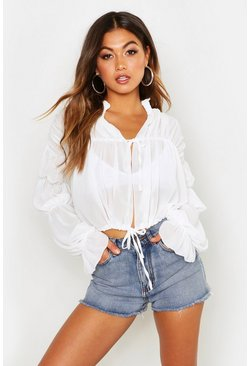 White Ruched Tie Front Sheer Top