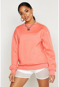 Womens Coral Oversized Sweatshirt
