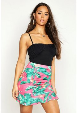 Womens Pink Palm Print Ruffle Ruched Mini Skirt