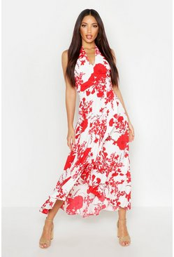 Womens Red Statement Floral Maxi Dress