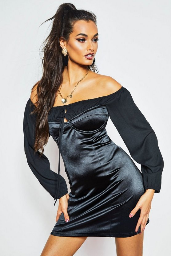 Womens Black Off The Shoulder Ruched Stretch Satin Dress