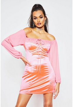 Womens Neon-pink Off The Shoulder Ruched Stretch Satin Dress