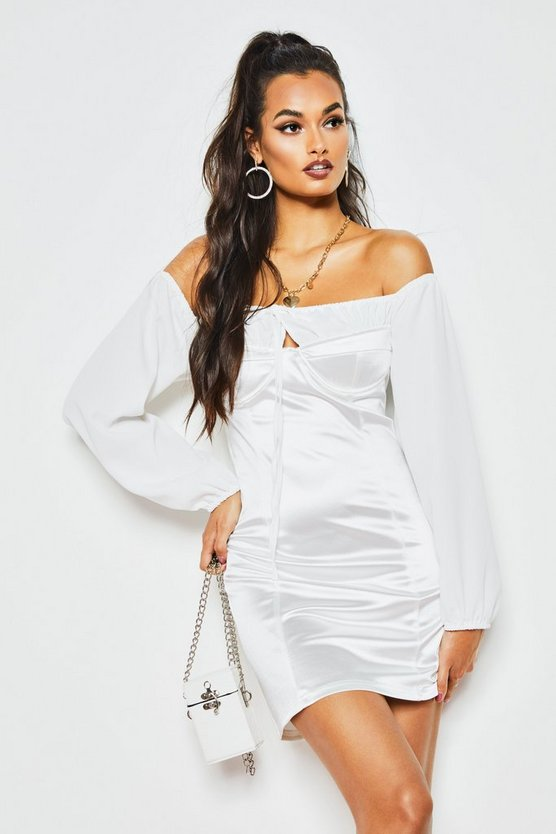 White Off The Shoulder Ruched Stretch Satin Dress