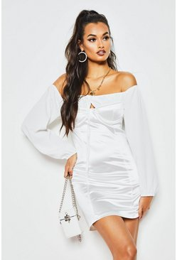 Womens White Off The Shoulder Ruched Stretch Satin Dress
