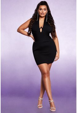 Womens Black Sculpting Bust Detail Bandage Mini Dress