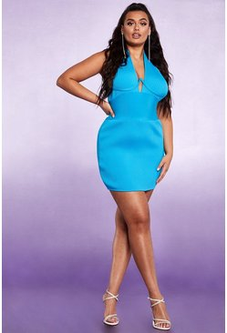 Womens Turquoise Sculpting Bust Detail Bandage Mini Dress