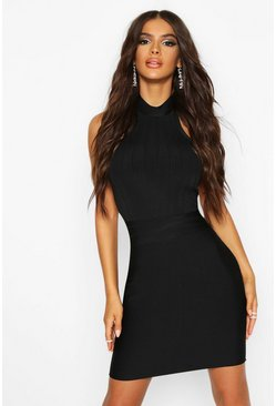 Womens Black Boutique Contouring High Neck Bandage Mini Dress