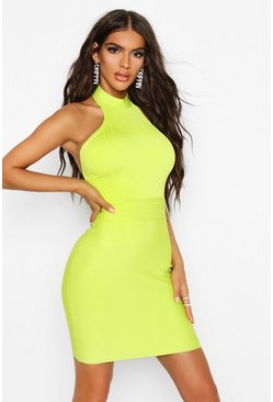 Womens Lime Boutique Contouring High Neck Bandage Mini Dress