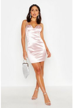 Womens Nude Diamante Bust Stretch Satin Dress
