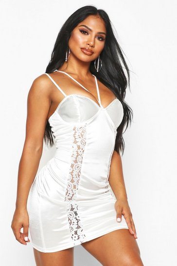 Womens White Lace Insert Stretch Satin Mini Dress