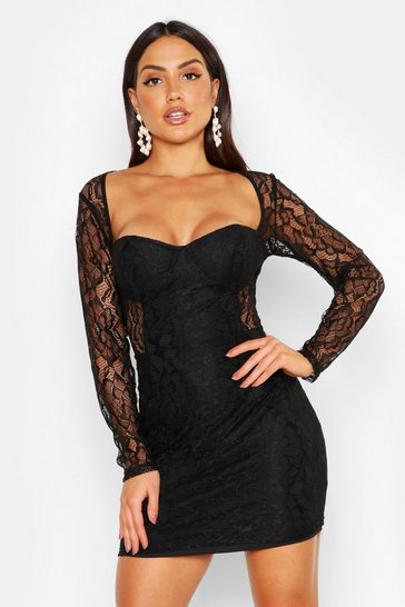 Womens Black All Over Lace Mini Dress