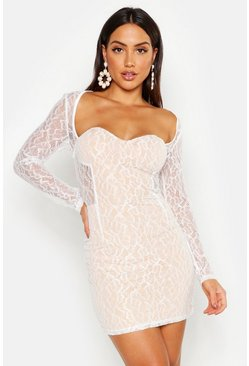 Womens White All Over Lace Mini Dress