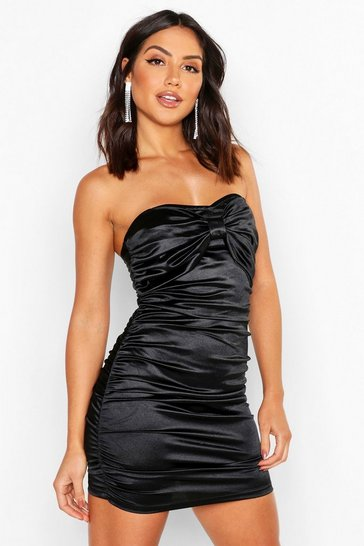 Womens Black Ruched Bandeau Stretch Satin Mini Dress