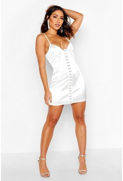 Womens White Hook & Eye Detail Satin Mini Dress