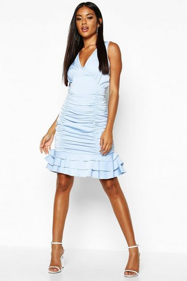 Womens Sky Ruched Frill Hem Mini Dress