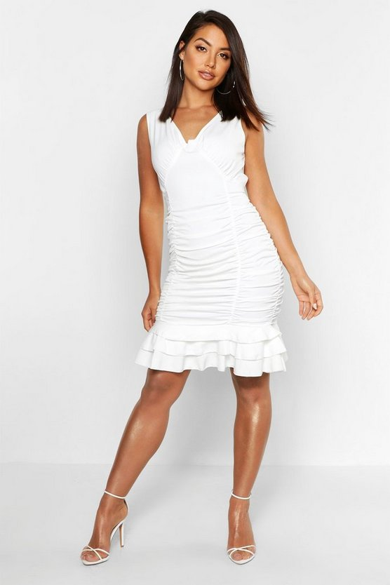 Womens White Ruched Frill Hem Mini Dress