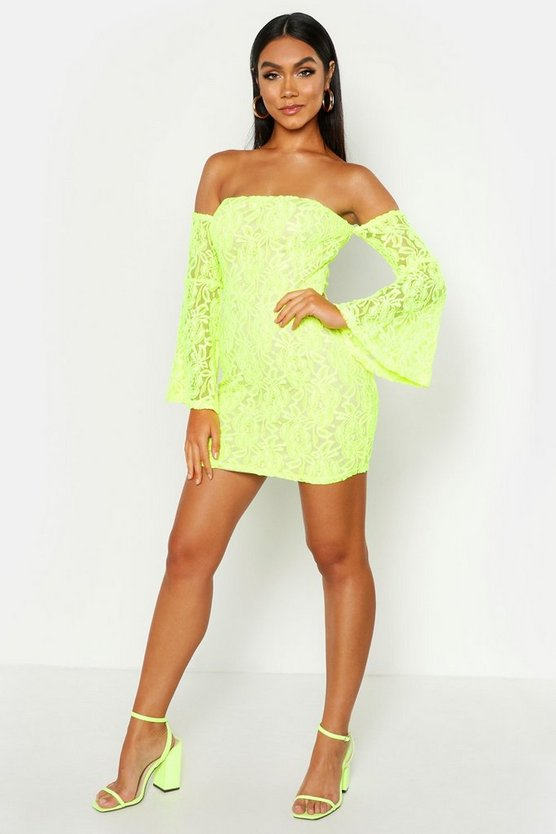 Womens Neon-yellow Off The Shoulder Lace Mini Dress